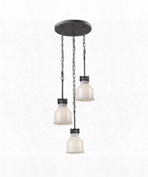 "Franklin 10"" 3 Light Multi Pendant Light In Black"