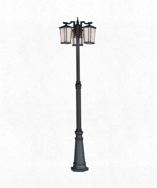 """Hampton 26"""" 3 Light Outdoor Outdoor Post Lamp In Black"""