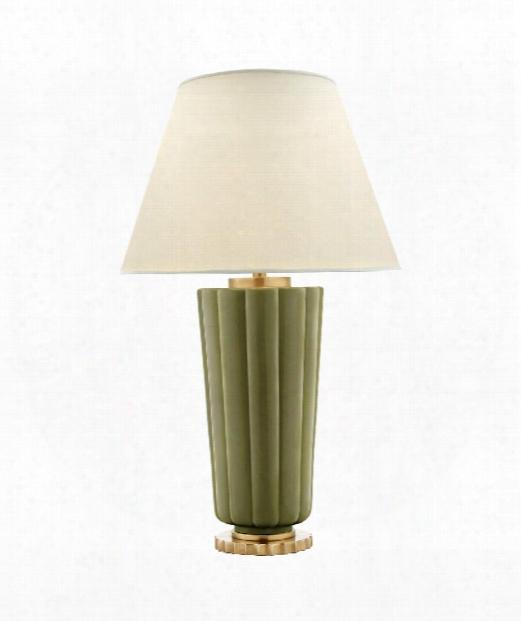 """Hopkins 17"""" 2 Light Table Lamp In Green Porcelain"""