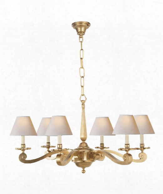 "Myrna 33"" 6 Light Chandelier In Natural Brass"