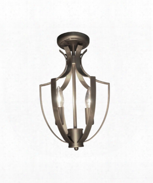"Newport 10"" 3 Light Semi Flush Mount In Satin Nickel"