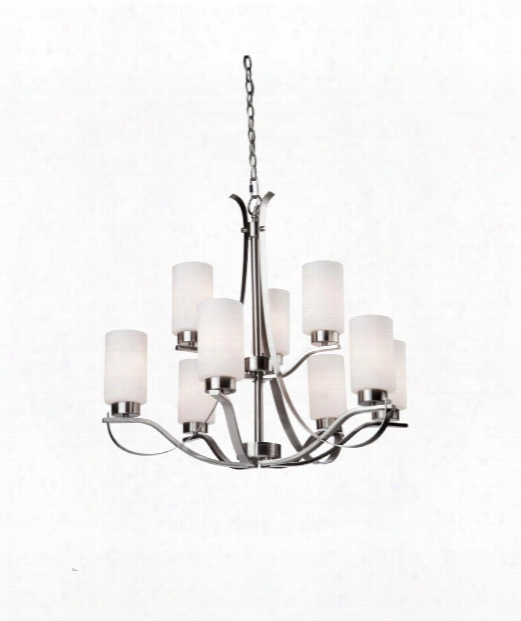 """Russell Hill 28"""" 9 Light Chandelier In Polished Nickel"""