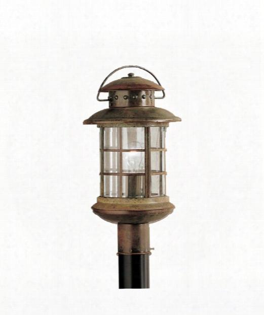 """Rustic 10"""" 1 Light Outdoor Outdoor Post Lamp In Rustic"""