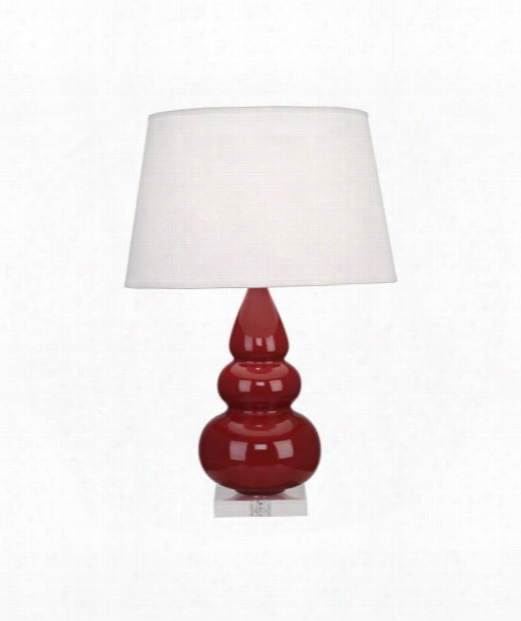 """Small Triple Gourd 6"""" 1 Light Table Lamp In Acrylic-oxblood"""