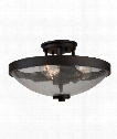 "San Antonio 15"" 3 Light Semi Flush Mount in Java Brown"