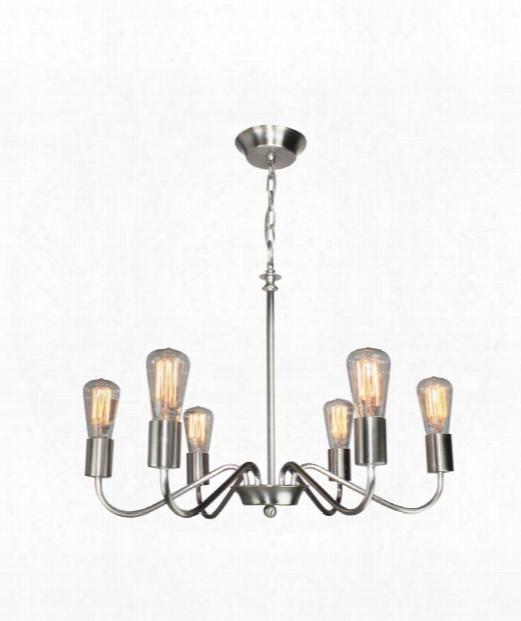 """Vintage 24"""" 6 Light Chandelier In Brushed Nickel"""