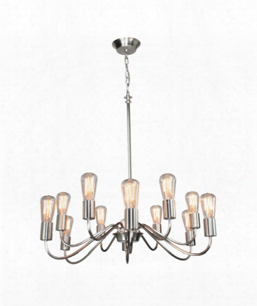 "Vintage 30"" 12 Light Chandelier In Brushed Nickel"