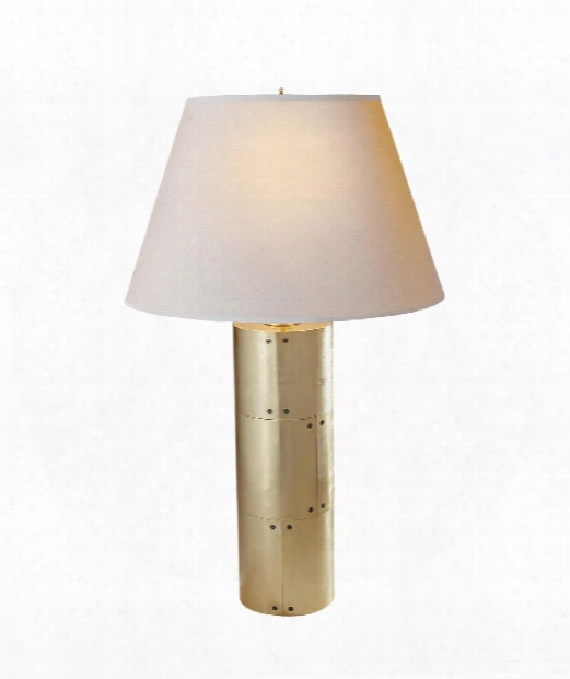 "Yul 17"" 2 Light Table Lamp In Natural Brass"