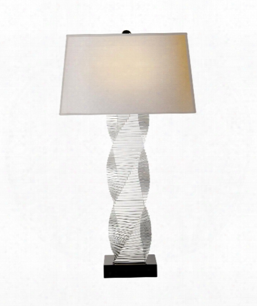 """Alford 16"""" 1 Light Table Lamp In Clear Crystal With Black Crystal"""