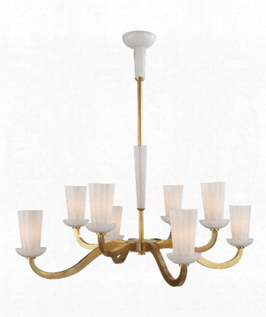 "All Aglow 41"" 8 Light Chandelier In Soft Brass"