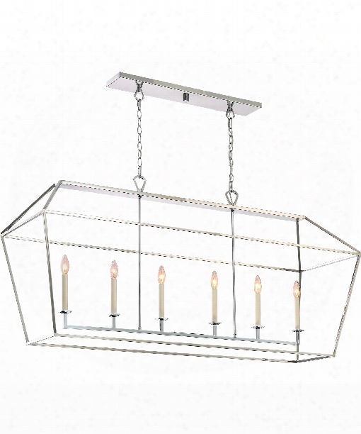 "Aviary 54"" 6 Light Ilsand Light In Silver"