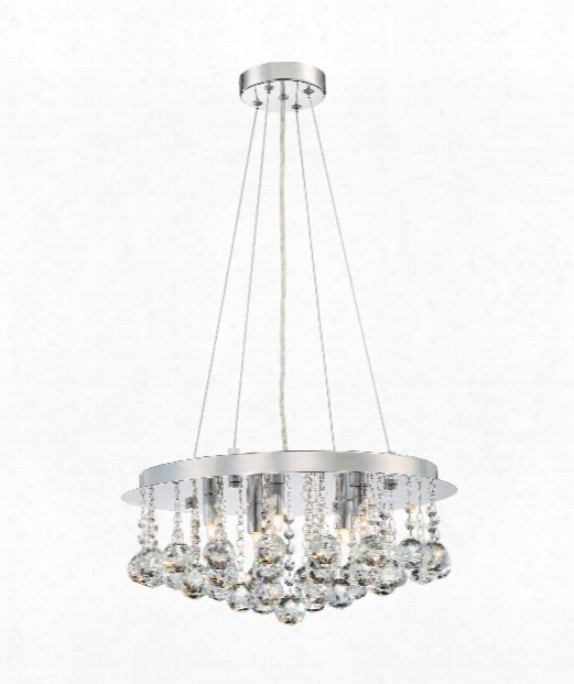 "Bordeaux With Clear Crystal 18"" Led 5 Light Large Pendant In Polished Chrome"