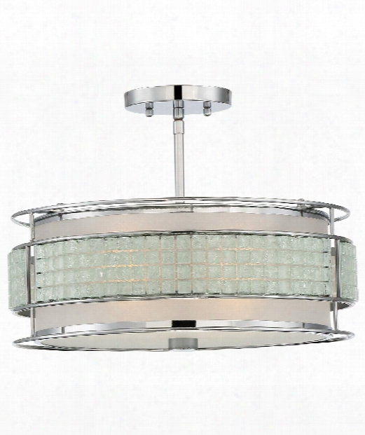 "Boundary 16"" 3 Light Semi Flush Mount In Polished Chrome"