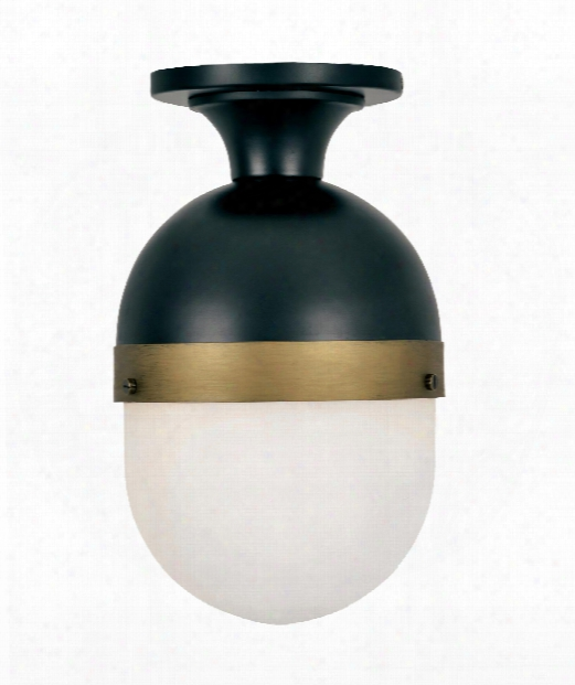 "Capsule 8"" 1 Light Outdoor Outdoor Flush Mount In Matte Black - Textured Gold"