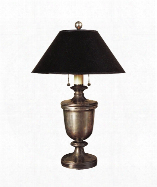 "Classical Urn 15"" 2 Light Table Lamp In Sheffield Nickel"