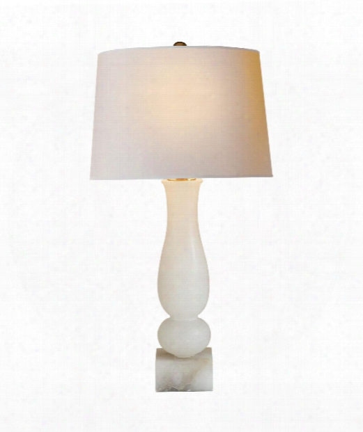 "Contemporary Balustrade 16"" 1 Light Table Lamp In Alabaster"