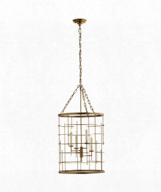 "Cop Ene 18"" 4 Light Foyer Pendant In Gilded Iron"