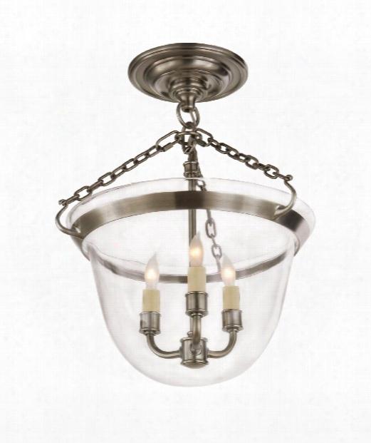 "Country Bell Jar 13"" 3 Light Semi Flush Mount In Antique Nickel"
