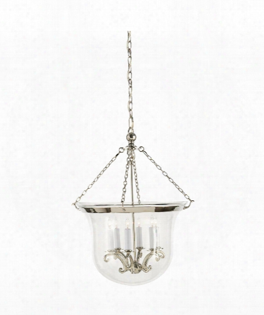 "Country Bell Jar 21"" 6 Light Foyer Pendant In Polished Nickel"