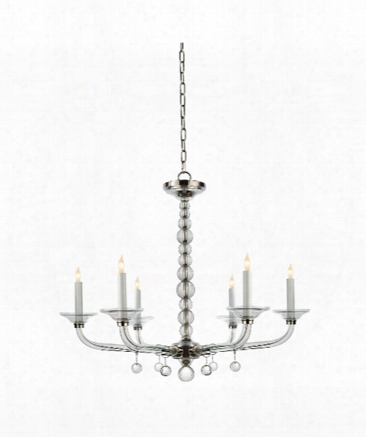 "Crystal Stacked Ball 31"" 6 Light Chandelier In Polished Nickel"