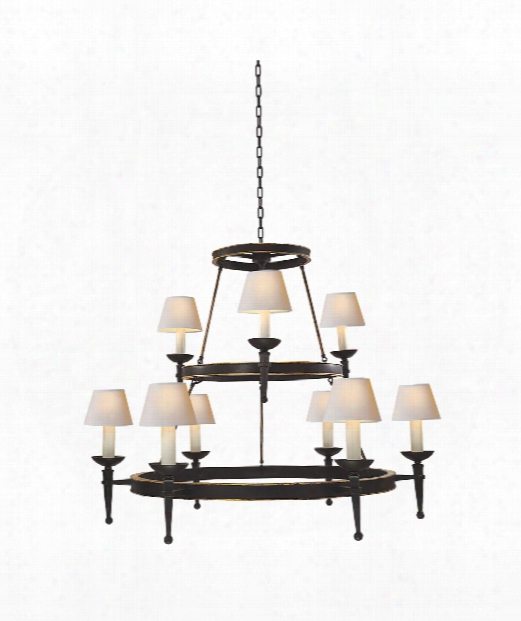 "Dorset 57"" 9 Light Chandelier In Weathered Iron"