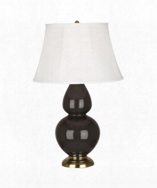 "Double Gourd 7"" 1 Light Table Lamp In Antique Brass-coffee"