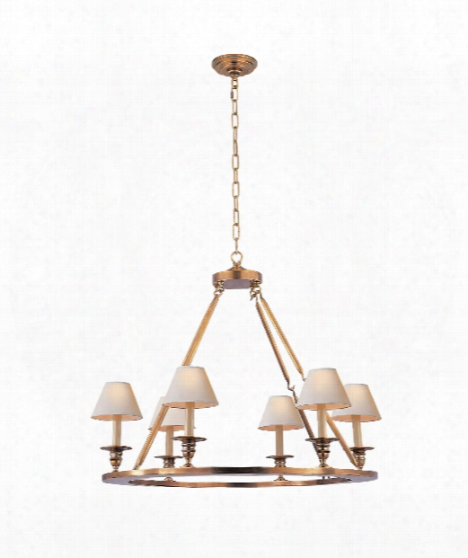 "Flat Line 32"" 6 Light Chandelier In Antique-burnished Brass"