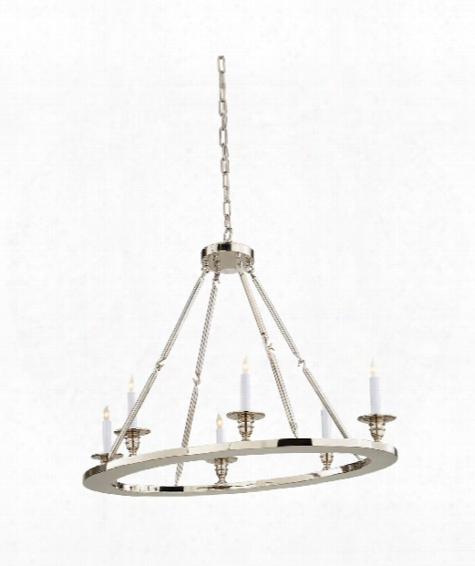 "Flat Line 36"" 6 Light Chandelier In Polished Nickel"