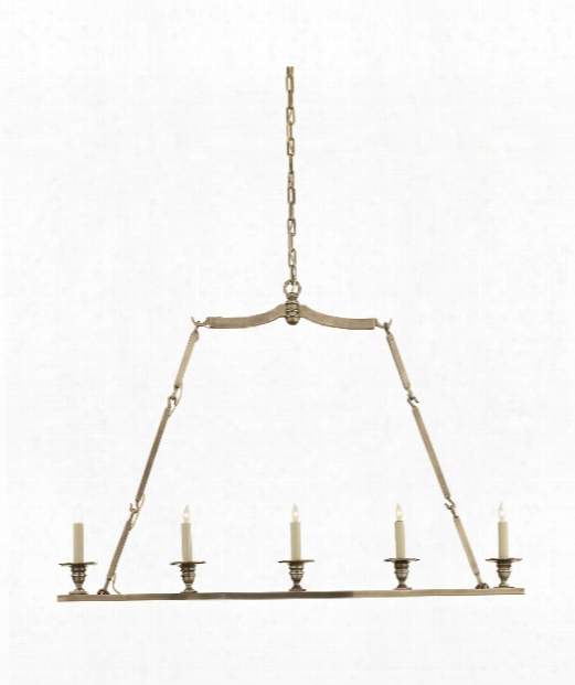 "Flat Line 48"" 5 Light Island Light In Antique Nickel"