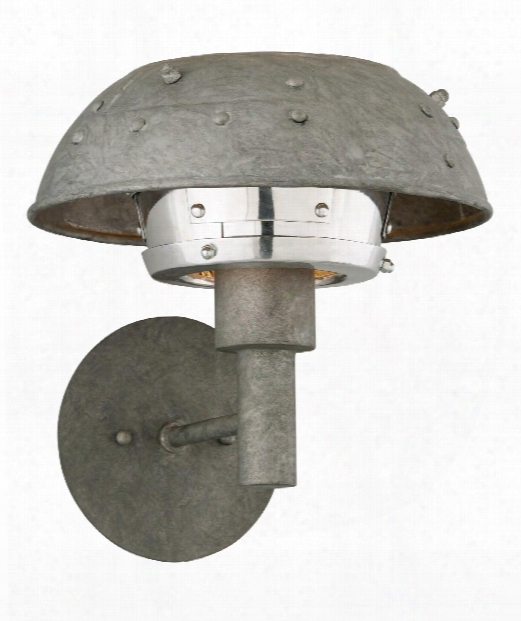 """Idlewild 11"""" Led 1 Light Wall Sconce In Aviation Gray With Vintage Aluminum"""