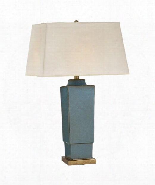 "Khan 19"" 1 Light Table Lamp In Oslo Blue"