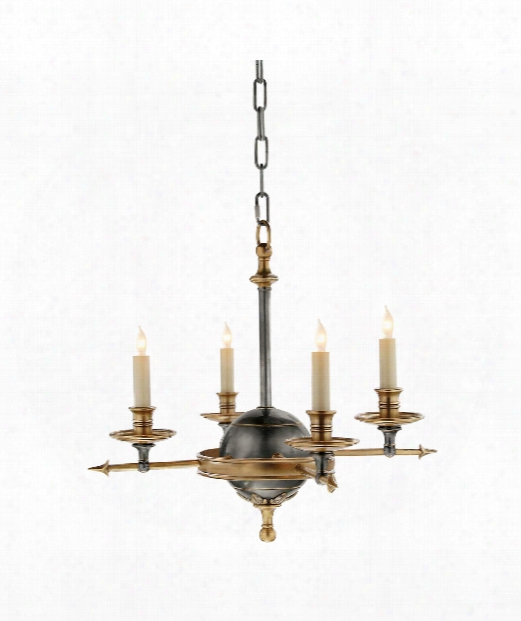 "Leaf And Arrow 16"" 4 Light Chandelier In Bronze With Antique Brass"