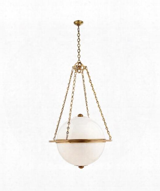 "Modern Globe 32"" 3 Light Large Pendant In Antique-burnished Brass"