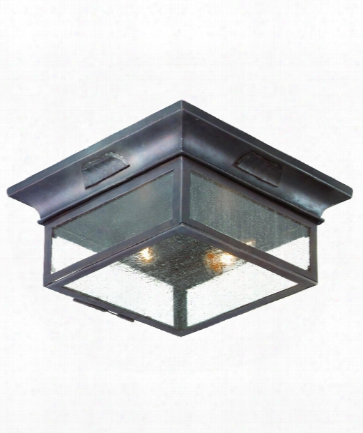 "Newton 13"" 2 Light Outdoor Outdoor Flush Mount In Old Bronze"