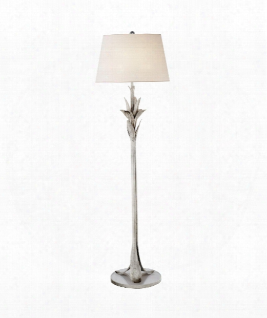 "Palm 19"" 1 Light Floor Lamp In Burnished Silver Leaf"