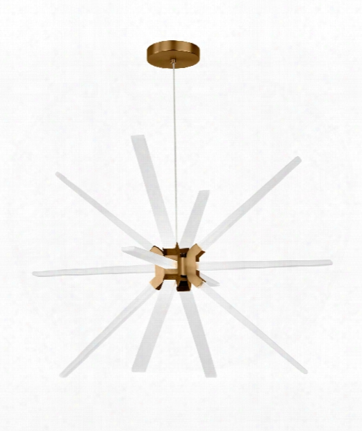 """Photon 34"""" Led 12 Light Large Pendant In Aged Brass"""