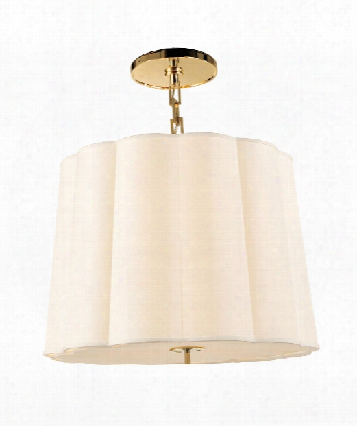 "Simple Scallop 25"" 5 Light Large Pendant In Soft Brass"