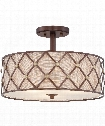 "Brown Lattice 17"" 3 Light Semi Flush Mount in Copper Canyon"