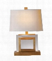 "Crystal Panel 12"" 1 Light Table Lamp in Antique-Burnished Brass"