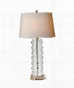"Oval Stacked 18"" 1 Light Table Lamp in Crystal"