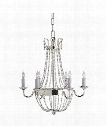 "Paris Flea Market 16"" 6 Light Chandelier in Polished Silver"