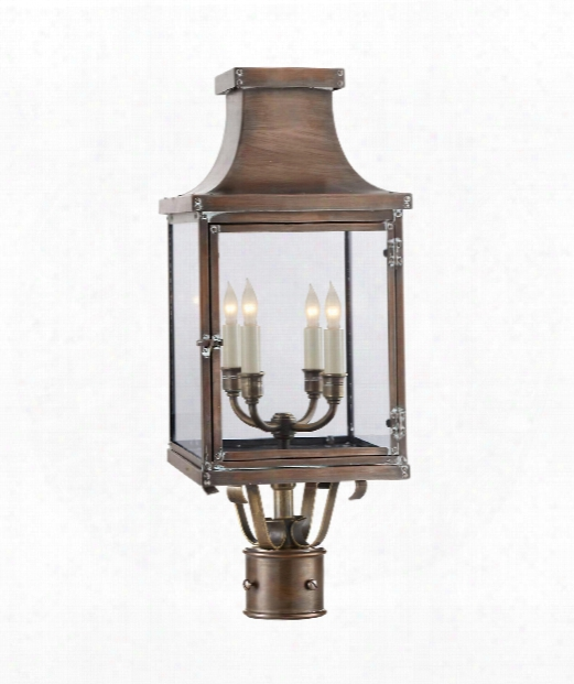 """Bedford 10"""" 4 Light Outdoor Outdoor Post Lamp In Natural Copper"""