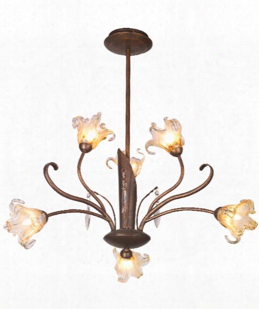 "Bloom 22"" 6 Light Chandelier In Flemish Copper"
