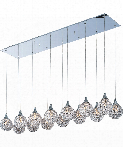 "Brilliant 47"" 14 Light Multi Pendant Light In Polished Chrome"
