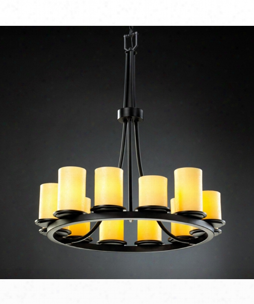 "Candlearia Dakota 28"" 12 Light Chandelier In Matte Black"