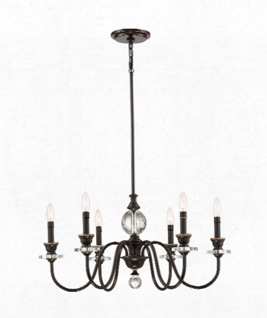 "Ceremony 28"" 6 Light Chandelier In Brown"