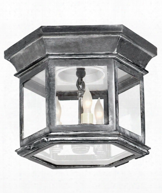 "Club 10"" 3 Light Flush Mount In Weathered Zinc"