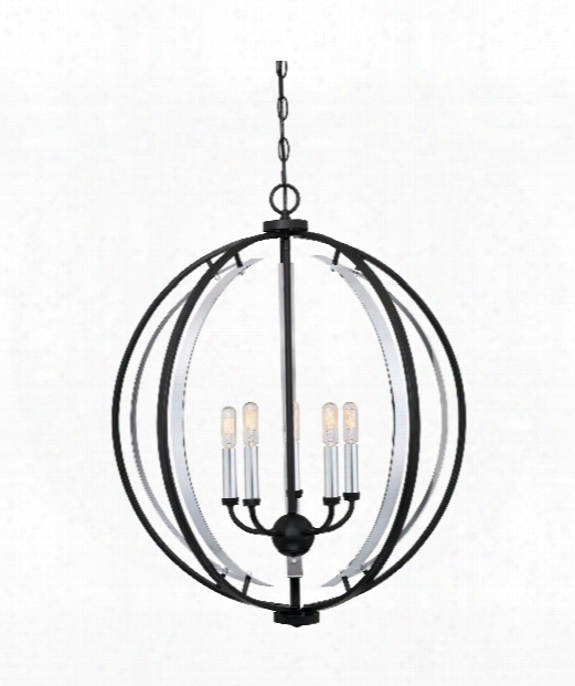 "Concert 24"" 5 Light Large Pendant In Earth Black"