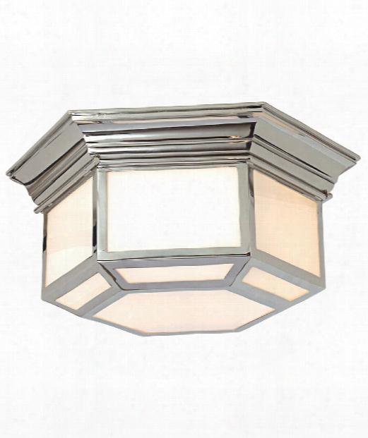 "Cornice Hex 19"" 2 Light Flush Mount In Polished Nickel"