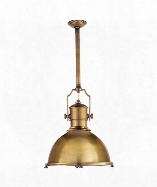 """Country Industrial 20"""" 1 Light Mini Pendant In Antique-burnished Brass"""